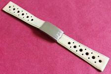 Omega Rare nos white rally leather strap mm 19 and steel deplo