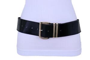 Women Shiny Black Wide Cocktail Fashion Belt Gold Metal Buckle Plus Size M L XL