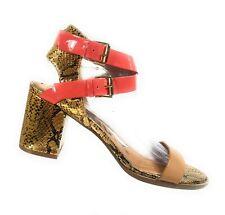 Kelsi Dagger Women Shoes Beige Gold Leather Ankle Strap Snake Sandals Size 10 M