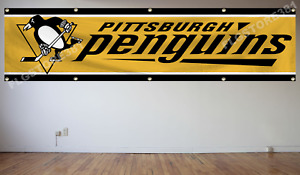 Pittsburgh Penguins NHL Banner Flag 2X8Ft Hockey Flag Decor House Man Cave