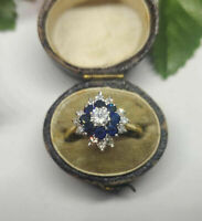 Vintage 1.25 Ct Round Sapphire Diamond Cluster Cocktail Ring 14K Yellow Gold Fn