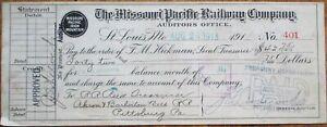 Missouri Pacific Railway Company 1913 Railroad Bank Check - St. Louis, MO
