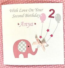 Gorgeous Personalised girls 2nd  Birthday Card