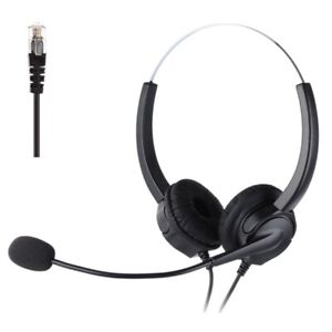 4-Pin RJ9 Hands-Free Call Center Noise Cancelling Corded Binaural Headset