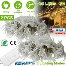 2pcs 3m 300LED String Lights Wedding Party Xmas Decor Fairy Curtain Tree Lamp