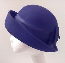 Amanda Smith Cloche Hat Black Wool Felt Turned Up Brim Made in Italy