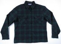 NWOT Pendleton Green Blue Tartan 100% Virgin Wool Womens Board Shirt USA Made L