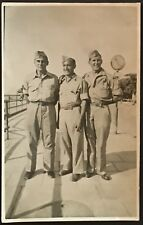 Military Real Photo Postcard RPPC ~ Three WW II Soldiers On Scenic Overlook Army