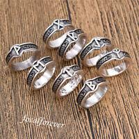 Unisex Vintage Viking Rune Ring Antique Silver US 8 Finger Ring Retro Men Gift