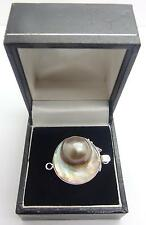 Nouveau 925 Handcrafted Mabe blister Pearl un seul brin Sterling Fermoir Argent #3