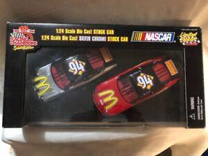NASCAR Diecast 1/24 scale 94 Bill Elliott McDonalds Silver Chrome 2 car set Ford