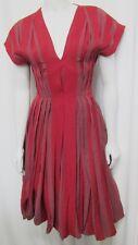 BOTTEGA VENETA 40 DRESS BRICK RED SHORT SLEEVE PLEATED CORSET CONTRAST FABRIC