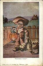 Black Americana Boy w/ Lantern Stealing Chicken c1910 Postcard