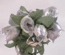 2 Picks Silver Silk Flowers for Hatmaking Millinery Green Leaves 20 Roses Total
