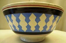 ANTIQUE MOCHAWARE BLACK RIBBED VINTAGE BOWL PEARLWARE STAFFORDSHIRE MINT OLD # 4