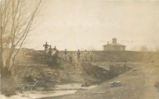 C-1910 Occupation Workers Constructing Small Dam RPPC real photo postcard 2155