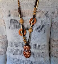 Women's Cute Owl Fetish Multi-Shape Color Artistic Wood Beads Necklace
