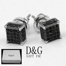 DG Men Sterling-Silver 925.Black Iced-Out CZ 6mm Square Studs*Earring*Unisex~Box