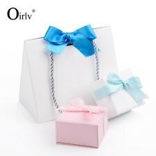 12 pieces White coated paper bag with handle blue ribbon for jewelry packing