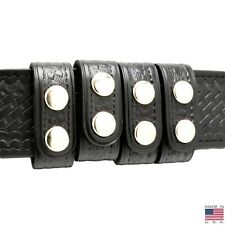 Perfect Fit Duty Belt Keepers 1 Basketweave Leather Chrome Snap Usa Made 4 Pack