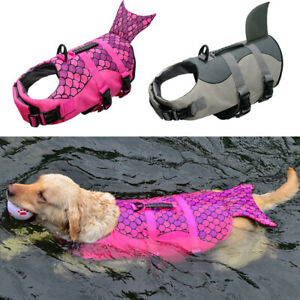 Dog Life Jacket Safety Vest Pet Swim Float Shark/Mermaid for Medium Large Dogs