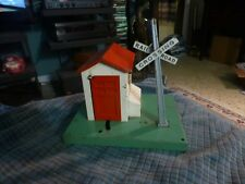 "Vintage PRESSED STEEL RAILROAD CROSSING STATION For Parts & Repair 6"" X 7"" X 6"""