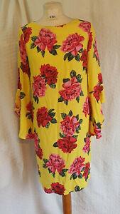 Dorothy Perkins Knee Length Dress Pink/Red Flowers on Yellow Sleeve Sz UK 12 346