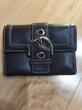 COACH Soho Mini Brown Wallet Trifold Snap Silver Buckle