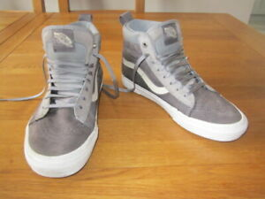 VANS Sk8 Hi High Top Trainers Skate Shoes Grey suede Size UK 6 Eur 39 Fleece