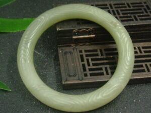 Chinese Antique Celadon Nephrite Hetain old Qing Jade-seas of clouds Bracelet