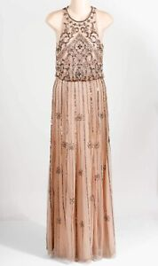 BHLDN Beige Polyester Women's Floral Sleeveless Crew Neck Beaded Evening Gown 4