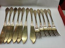 Antik Fischbesteck Besteck W&B 90 er Silber 6 Personen 12 Teile versilbert