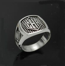 STERLING SILVER .925 GOLF MONOGRAMMED RING OXIDIZED