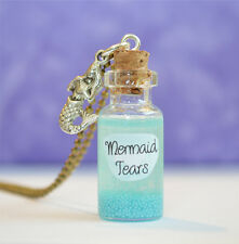 Mermaid Tears Glass Bottle Pendant Necklace, fantasy, myths, legend