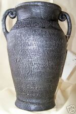 LARGE 2 HANDLED CHARCOAL URN VASE EGYPTIAN DESIGN