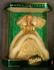 1994 Happy Holidays Barbie Doll Special Edition Blonde Gold Gown NRFB 12155