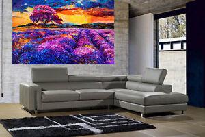 A0 SUPER SIZE CANVAS landscape art painting print purple yellow sunset sunrise