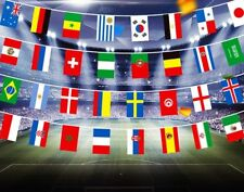 LARGE 32FT LONG FIFA WORLD CUP 2018 RUSSIA FABRIC FLAGS BUNTING BANNER