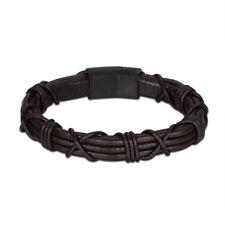 """DG Men's 8""""Stainless-Steel,Gold Silver Black Braided.Leather Bracelet Unisex.BOX"""