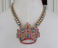 Betsey Johnson Trolls Crown Pendant Statement Necklace NWT $95