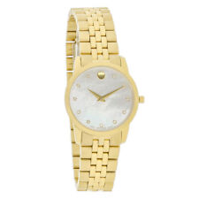 Movado Museum Mother of Pearl Diamond Dial Gold Tone Steel Ladies Watch 0606998
