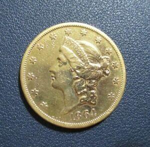 1864-S $20 AU Details Liberty Double Eagle Gold Civil War Era Coin