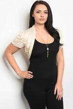 NEW..Plus Size Cream Crop Bolero Shrug Cardi Jacket with Ruched Sleeves.Sz16/2XL