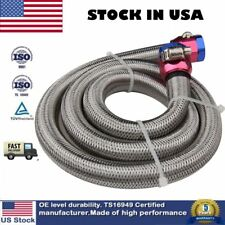 3/8 inch Hose 3ft. Steel Braided Gas Fuel Line Set With Red/Blue Clamp Covers US
