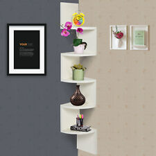 White Large Corner MDF Zig Zag Wall Shelf Finish Storage Display Decor Furniture