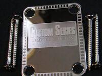New Custom Engraved Chrome Guitar Neck Plate  #C-118 W/Screws