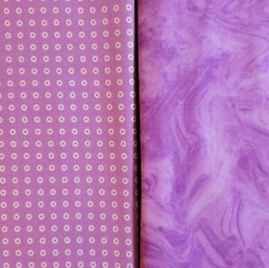 100% Cotton Fabric - 2 coordinated purple pieces. Total of over 4 yards.