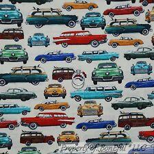 BonEful Fabric FQ Cotton Quilt Cream Red Blue Old CAR VTG Retro Classic American