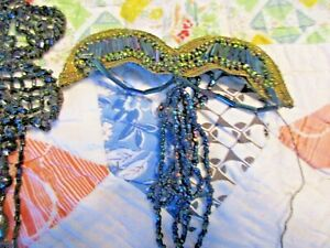 4 ANTIQUE VICTORIAN BEADED MOURNING TRIM  1LACE BLUE WINGS SHADE EMBELLISHMEN#4