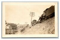 Train Locomotive Wreck Derailment RPPC Real Photo Postcard AZO 1926-40's